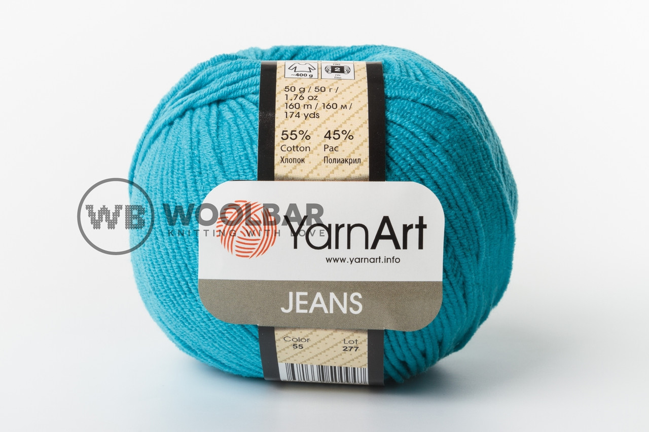 Пряжа YarnArt Jeans 55 яркая бирюза