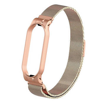 Ремешок для фитнес браслета Xiaomi Mi Band 5 и 6, Milanese design bracelet, Beije gold