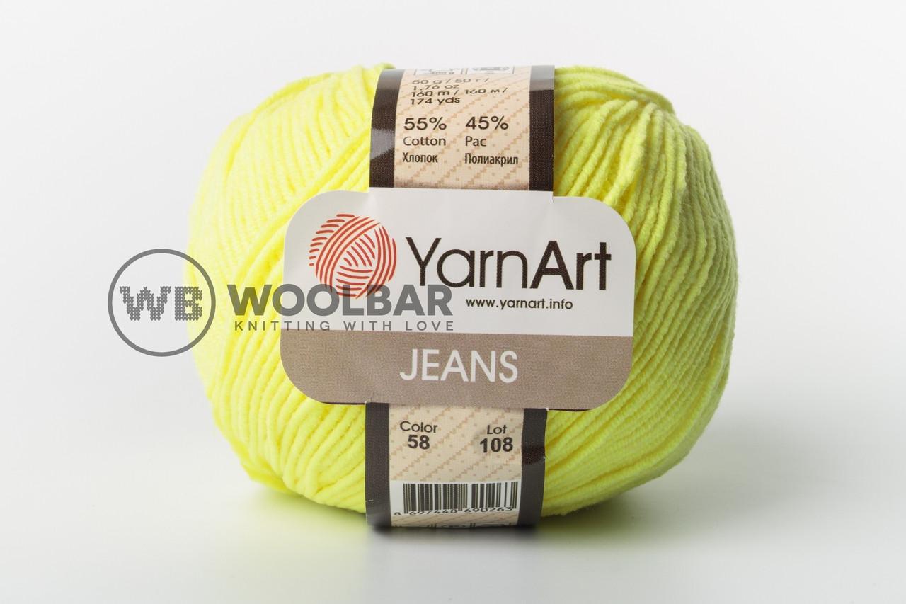 Пряжа YarnArt Jeans 58 ядовитый желтый
