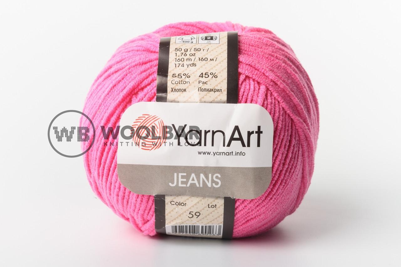 Пряжа YarnArt Jeans 59 ядовитый розовый