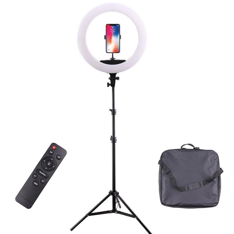 Профессиональная кольцевая светодиодная лампа (селфи кольцо) 45 см для блогеров с дистанционным управлением и