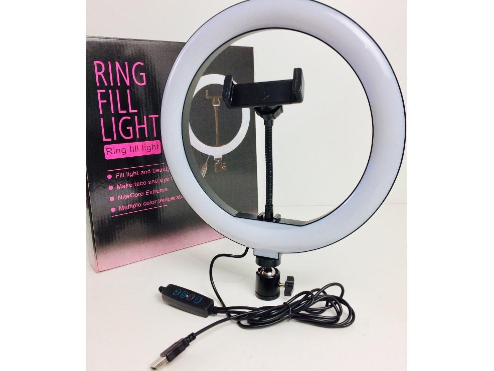 Профессиональная светодиодная кольцевая лампа Ring Fill Light LC666 26см 10Вт на 120 светодиодов со штативом