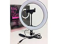 Профессиональная светодиодная кольцевая лампа Ring Fill Light LC666 26см 10Вт на 120 светодиодов со штативом, фото 1
