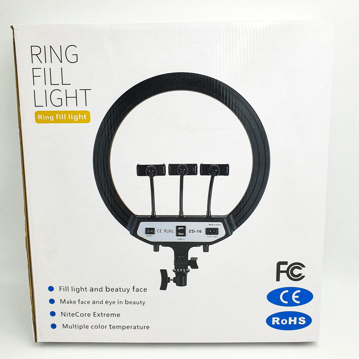 Профессиональная светодиодная кольцевая лампа Ring Fill Light ZD-16 40см 30Вт на 280 светодиодов со штативом