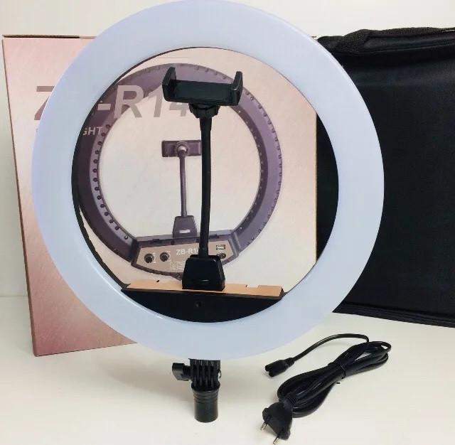 Профессиональная светодиодная кольцевая лампа ZB-R14 35см 60Вт на 300 светодиодов со штативом и чехлом