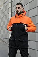 Мужская зимняя парка Nike на флисе, теплая куртка, черно-оранжевая (реплика)