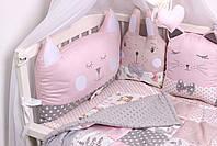 Комплект в кроватку с зверюшками в нежно розовых тонах, фото 3