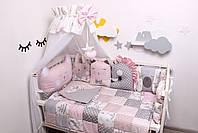 Комплект в кроватку с зверюшками в нежно розовых тонах, фото 2