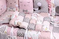 Комплект в кроватку с зверюшками в нежно розовых тонах, фото 6