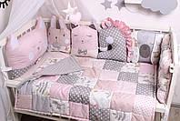 Комплект в кроватку с зверюшками в нежно розовых тонах, фото 7