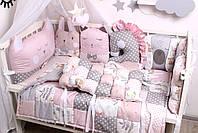 Комплект в кроватку с зверюшками в нежно розовых тонах, фото 5