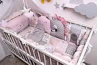 Комплект в кроватку с зверюшками в нежно розовых тонах, фото 10