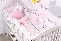 Комплект в кроватку с зверюшками в нежно розовых тонах, фото 4