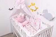 Комплект в кроватку с зверюшками в нежно розовых тонах, фото 9