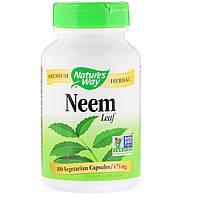 Ним, Neem Leaves, Nature's Way, 100 капсул