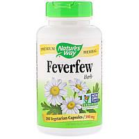 Пиретрум девичий, Feverfew Leaves, Nature's Way, 380 мг, 180 капсул