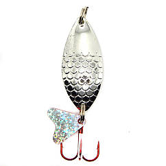 Колеблющаяся блесна Spinnex Perch 8г для ловли щуки и окуня цвет Серебро