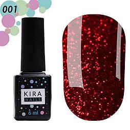 Гель-лак Red Hot Peppers Kira Nails 001, 6 мл (рубиновый с ярко-красными блестками)