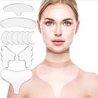 Многоразовые силиконовые патчи от морщин на все лицо, шею и зону декольте (11 штук)