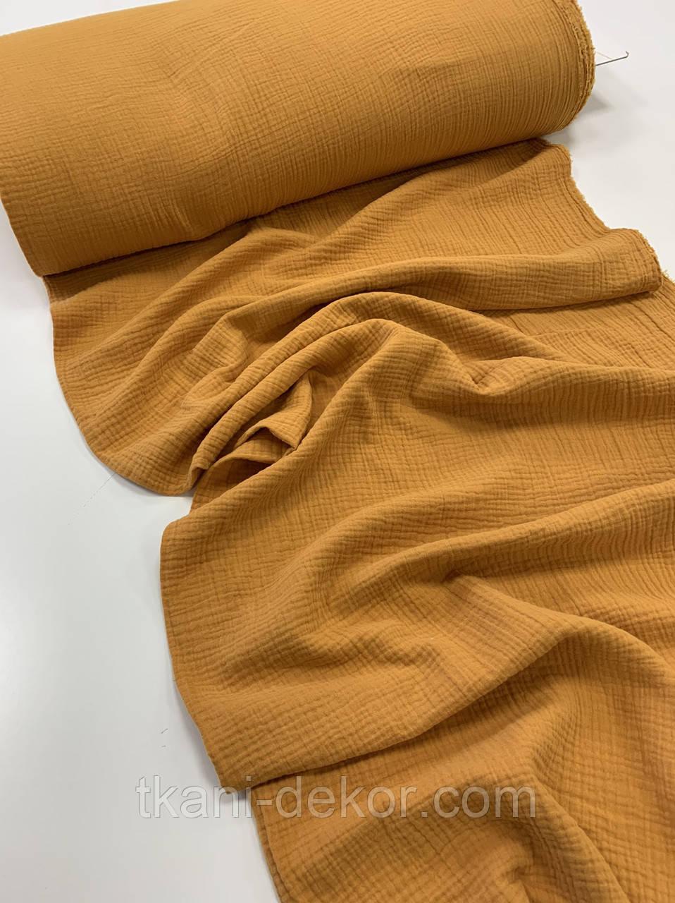 Муслін (бавовняна тканина) жатка світла гірчиця однотон (ширина 1,35 м)