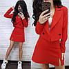 Костюм міні спідниця з розрізом і піджак на запах, фото 4