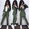 Костюм штани висока талія і піджак замша, фото 4