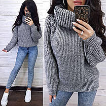 Теплий жіночий светр хомут напіввовна, фото 2
