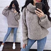 Тёплый женский свитер хомут полушерсть, фото 3
