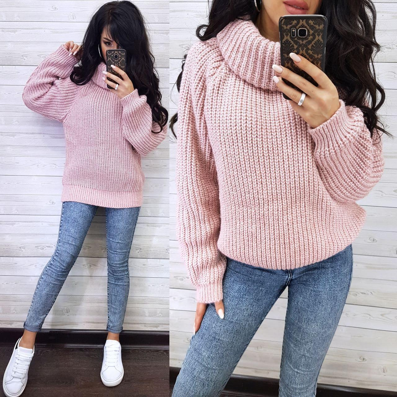 Теплий жіночий светр хомут напіввовна