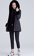 Зимняя женская черная куртка парка на меху с капюшоном