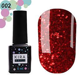 Гель-лак Red Hot Peppers Kira Nails 002, 6 мл (красный с коралловыми блестками)