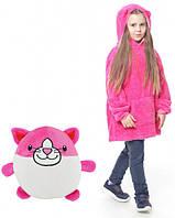 Детское Худи Толстовка - Плед с Капюшоном HUGGLE PETS розовый
