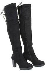 Женские сапоги Baehr на каблуке черные 36-40 искусственная замша