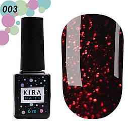 Гель-лак Red Hot Peppers Kira Nails 003, 6 мл (винний з карминовыми блискітками)