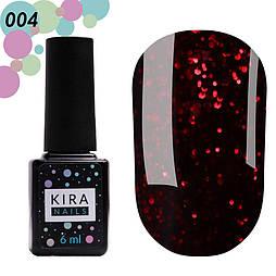 Гель-лак Red Hot Peppers Kira Nails 004, 6 мл (гранатовый с рубиновыми блестками)
