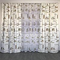 Готовые шторы 150x270 cm (2 шт) с тюлью 400x270 cm ALBO Коричневые (SHT-620-3), фото 1
