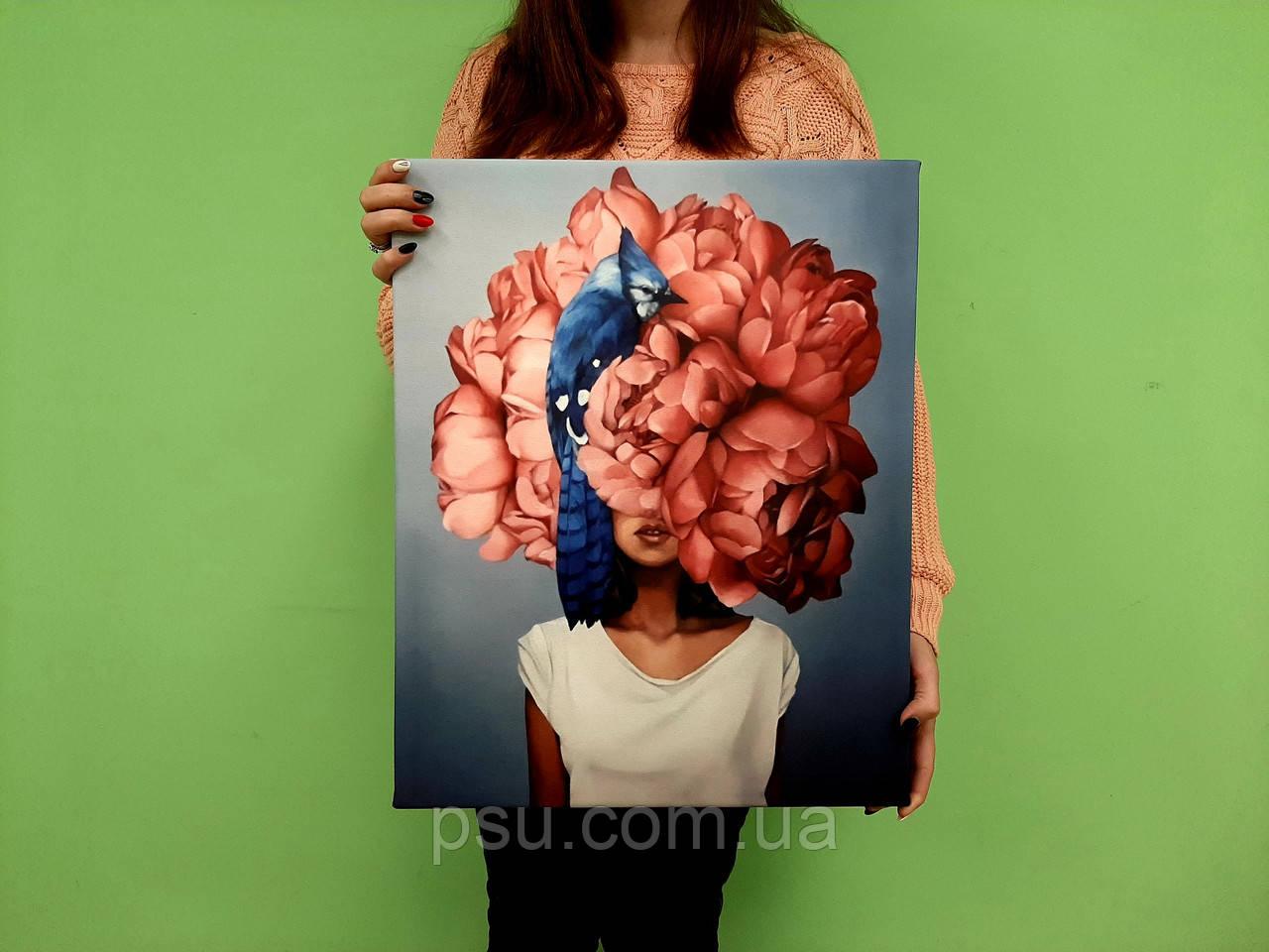 Картина на холсте Девушка-пион