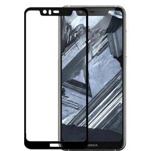 Защитное стекло для Nokia 5.1 Plus 5д на весь экран захисне скло для нокиа 5.1 плюс черной