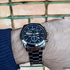 Мужские наручные часы черные в стиле Tissot. Годинник чоловічий