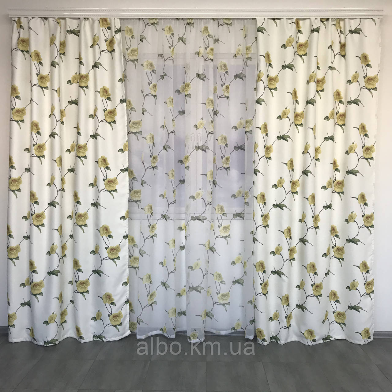 Готовые атласные шторы 150x270 cm (2 шт) с тюлью 400x270 cm ALBO Желтые (SHT-614-4)