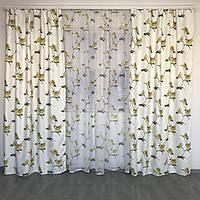 Готовые атласные шторы 150x270 cm (2 шт) с тюлью 400x270 cm ALBO Желтые (SHT-614-4), фото 1