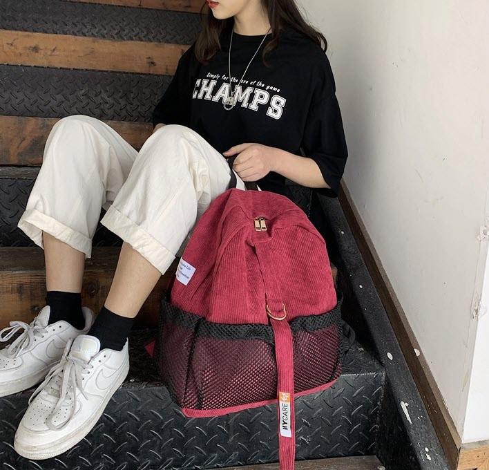 Молодежные вельветовые рюкзаки унисекс