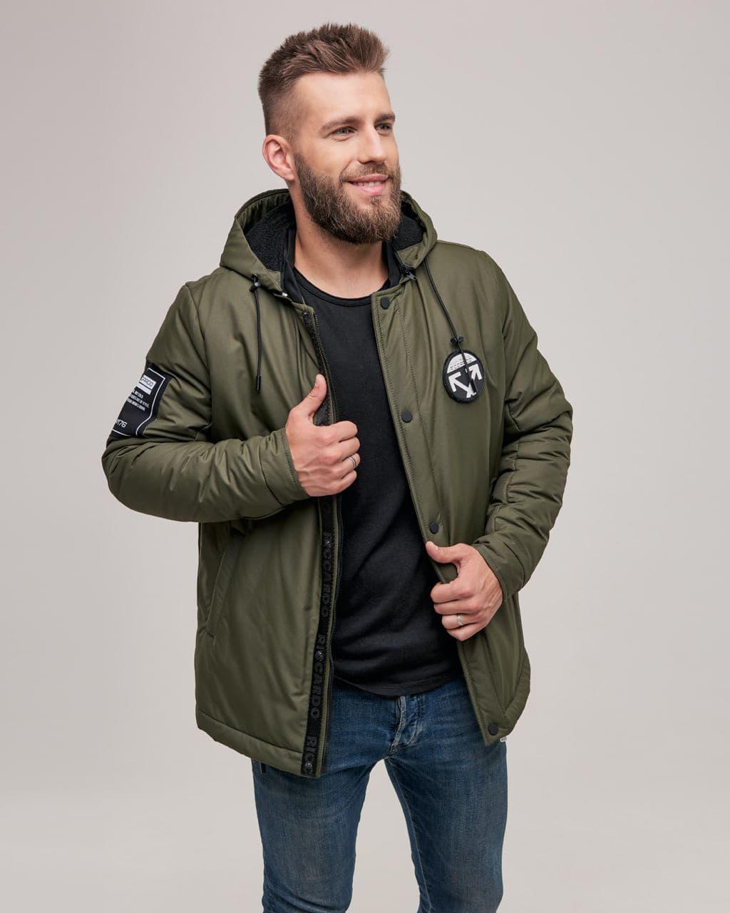 Зимова чоловіча тепла куртка кольору хакі. Розмір 46(S), 48(M), 50(L), 52(XL), 54(XXL)