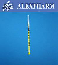 Шприц одноразовый инсулиновый 1мл U-100, Luer, со съемной иглой 30G 0,30*13мм (уп/200шт, ящ/4000шт) ALEXPHARМ