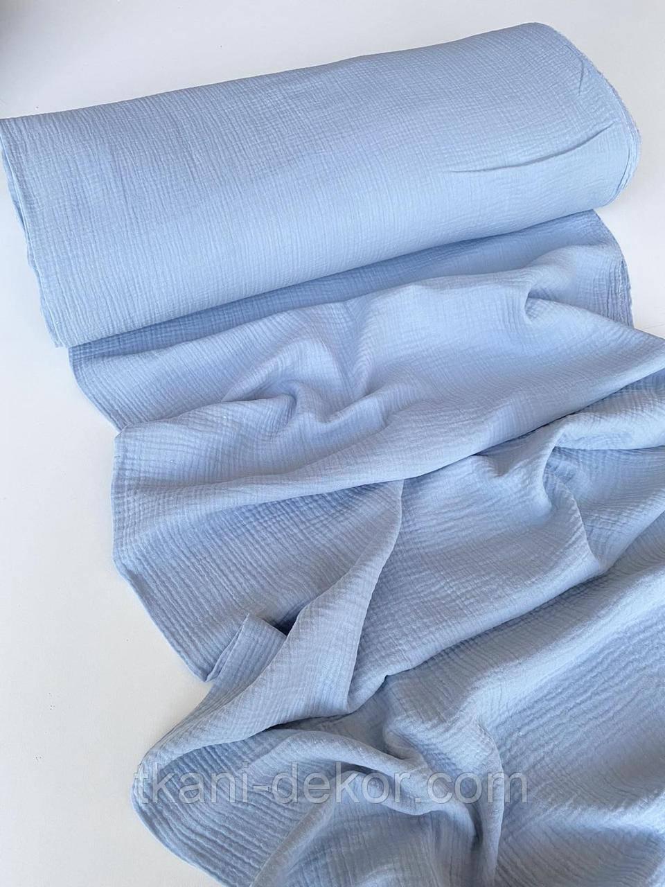 Муслін (бавовняна тканина) жатка джинс блакитний (ширина 1,35 м)