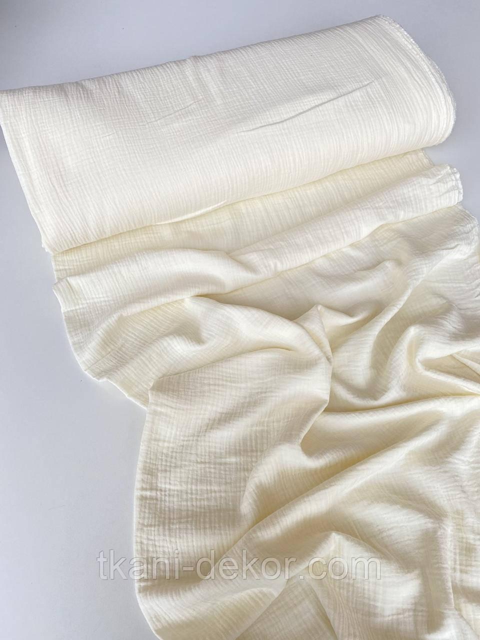 Муслин (хлопковая ткань) жатка однотон ваниль (ширина 1,35 м) (6)
