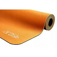 Коврик (мат) для йоги и фитнеса 4FIZJO TPE 6 мм 4FJ0034 Orange/Black, фото 1