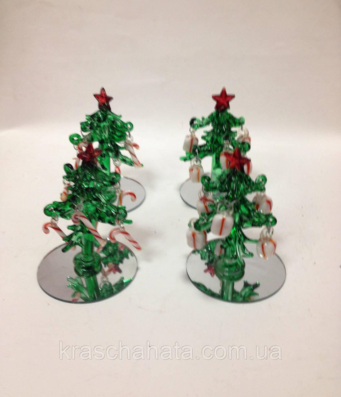 Ялинка новорічна, 8х5,5 см, декоративне скло, новорічний сувенір, Дніпропетровськ