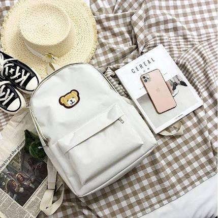 Нежный тканевый рюкзак с вышивкой Медвежонка, фото 2