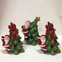 Дед Мороз с елкой, 14х10х8 см, сувенир новогодний, Статуэтка, керамика, Днепропетровск